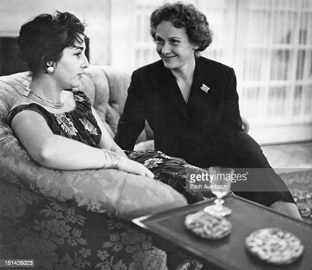 German soprano Elisabeth Schwarzkopf with cellist Irmgard Poppen at a party at Schwarzkopf's home in Hampstead London 7th September 1957