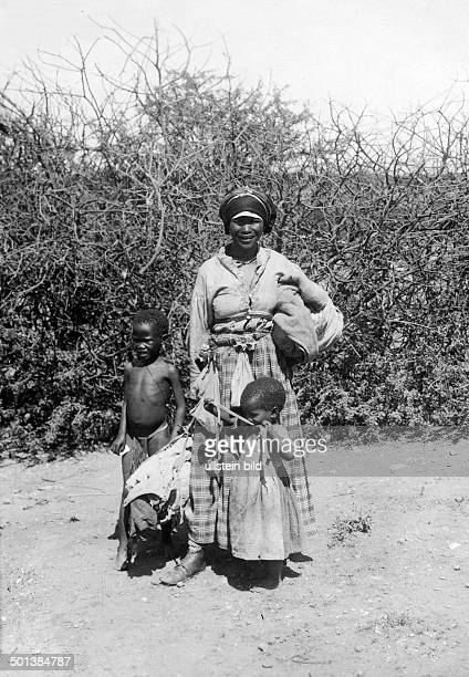 German SouthWest Africa Herero people Woman with her children probably in the 1910s