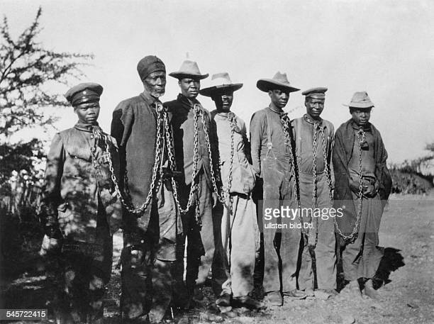 German South-West Africa: Herero rebellion, captives in chaines - 1904/5