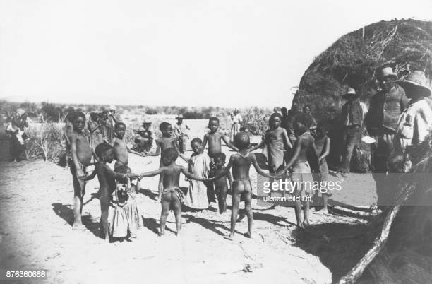 German SouthWest Africa village of the Herero people playing children 1904