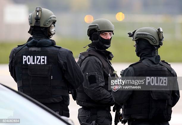 German special police forces work as US President Barack Obama leaves in Air Force One from the airport Langenhagen near Hanover central Germany on...
