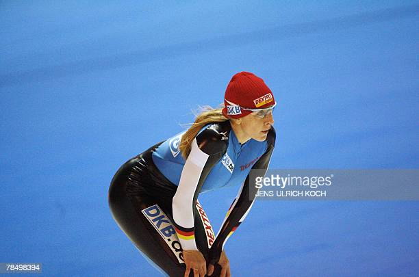 German speed skater Anni Friesinger warms up ahead of the speed Skating World Cup 15 December 2007 at the GundaNiemannStirnemannHall in the eastern...