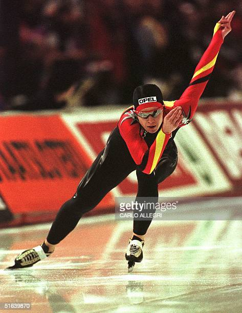 German speed skater Franziska Schenk competes in the first heat of the women's 500 meter event 27 March at the World Single Distance Championships in...