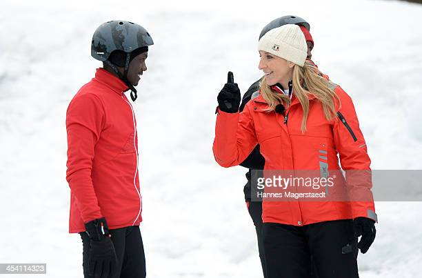 German speedskater Anni Friesinger gives advices to the marathon runners before the 'Real Cool Runnings' Photocall on December 7 2013 in Munich...