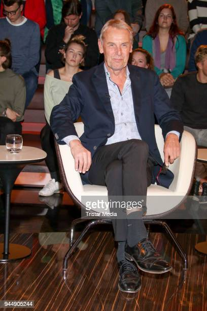 German sports presenter Joerg Wontorra during the 'Markus Lanz' TV Show on April 11 2018 in Hamburg Germany