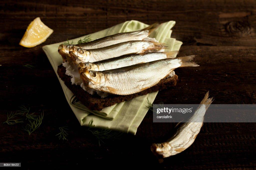 German sprats on bread : Stock-Foto