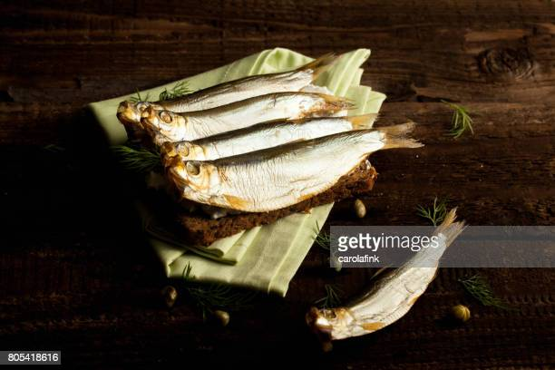german sprats on bread - carolafink stock pictures, royalty-free photos & images