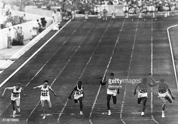 German sprinter Armin Hary wins the 100meter dash in the Rome Olympics of 1960