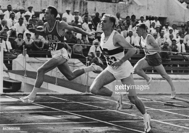 German sprinter Armin Hary wins the second quarterfinal of the Men's 100 Metres at the Olympics in Rome Italy in 102 seconds 31st August 1960 Dave...