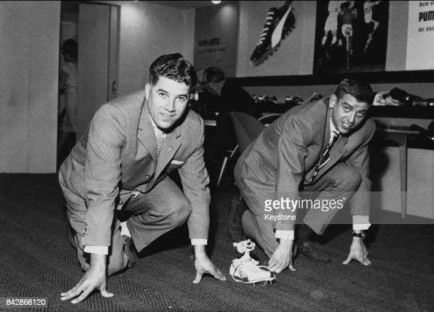 German sprinters Heinz Futterer and Armin Hary do publicity work for Puma manufacturers of sports shoes 17th April 1962