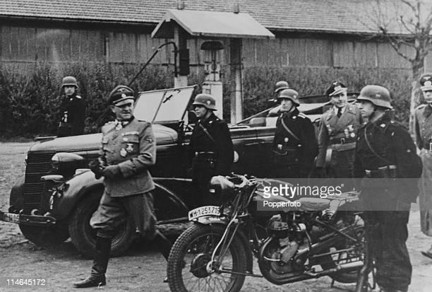 German SS General Oberstgruppenfuhrer Josef 'Sepp' Dietrich with troops circa 1944