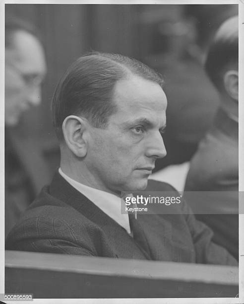 German SS General Otto Ohlendorf sitting in court on trial as Nuremberg for war crimes during World War Two Germany circa 1946
