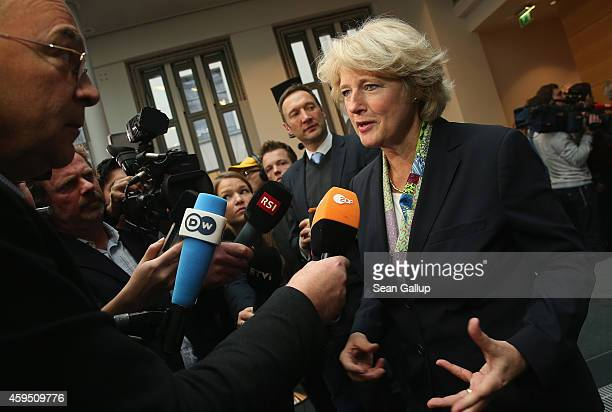 German State Culture Minister Monika Gruetters speaks to the media after signing an agreement moments before with Swiss and Bavarian representatives...