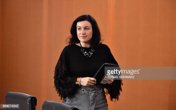 German State Minister for Digitalisation Dorothee Baer arrives for the weekly cabinet meeting on March 28 2018 at the Chancellery in Berlin / AFP...
