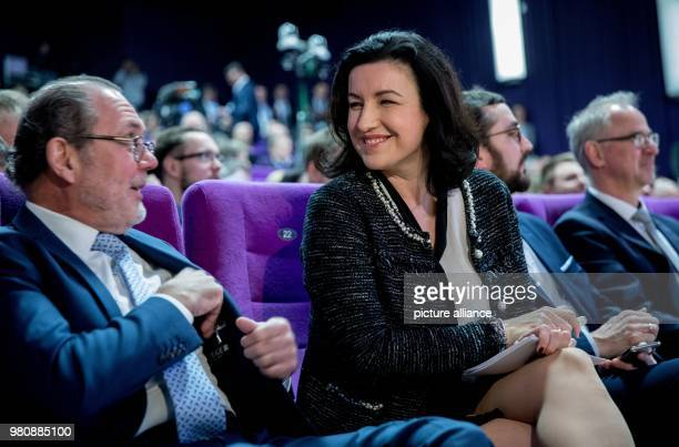 German state minister for digitalization Dorothee Baer and publisher and editorinchief of Behoerden Spiegel Uwe Proll attend the Fachkongress...