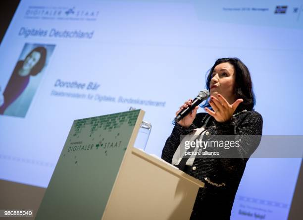 German state minister for digitalization Dorothee Baer delivers a speech during the Fachkongress Digitaler Staat in Berlin Germany 20 March 2018...
