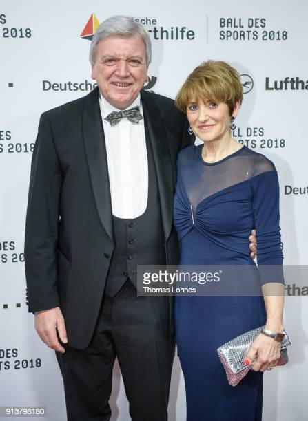 German State Premier for the state of Hesse Volker Bouffier and his wife Ursula attend the German Sports Gala 2018 'Ball Des Sports' on February 3...