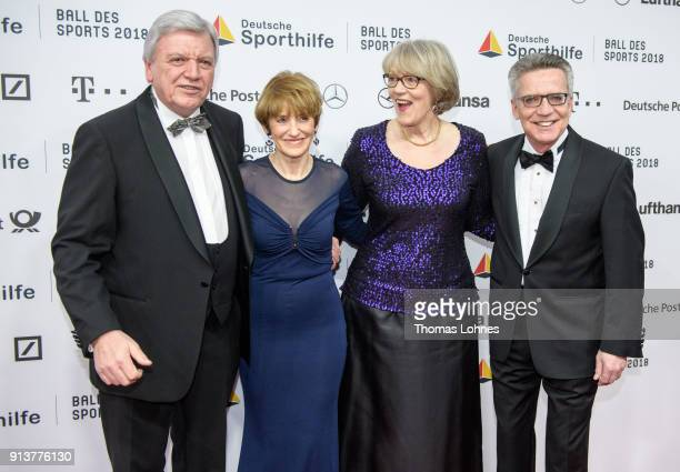 German State Premier for the state of Hesse Volker Bouffier his wife Ursula Interior Minister Thomas de Maiziere and his wife Martina attend the the...