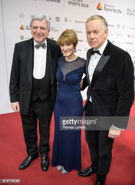German State Premier for the state of Hesse Volker Bouffier his wife Ursula and Johannes B Kerner attend the the German Sports Gala on February 3...