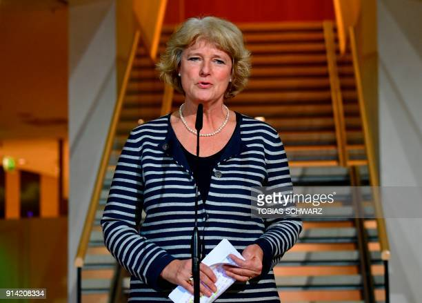 German State Secretary for Culture and the Media Monika Gruetters gives a statement at the SPD headquarters on February 4 2018 in Berlin as German...