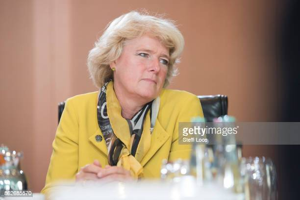 German State Secretary for Culture and the Media Monika Gruetters attends the weekly cabinet meeting on October 18 2017 in Berlin Germany Today...