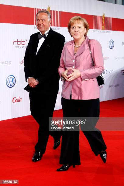 German State Secretary for Culture Bernd Neumann and Chancellor Angela Merkel attend the German film award at Friedrichstadtpalast on April 23 2010...