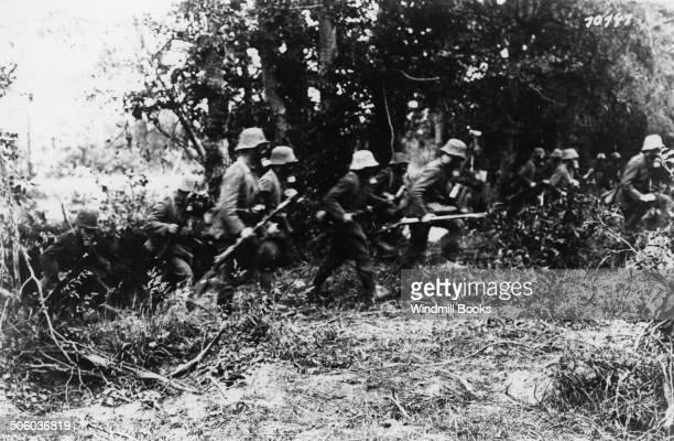 German Storm troops in gas masks penetrating Ploegsteert Wood