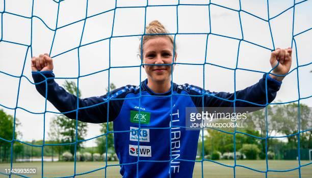 TOPSHOT German striker Svenja Huth poses before a training session with her German first Bundesliga women's football club FFC Turbine Potsdam on May...