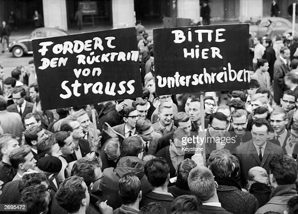 German students at Munich University at a protest demanding the resignation of the German Minister of Defence, Franz Josef Strauss, following the...
