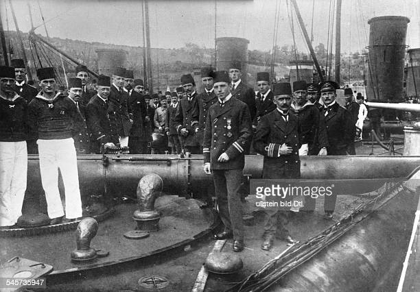 German submarine 'Muavenet' under Turkish flag Lt Firle and his crew back in the port after sinking the British predreadnought battleship Goliath...