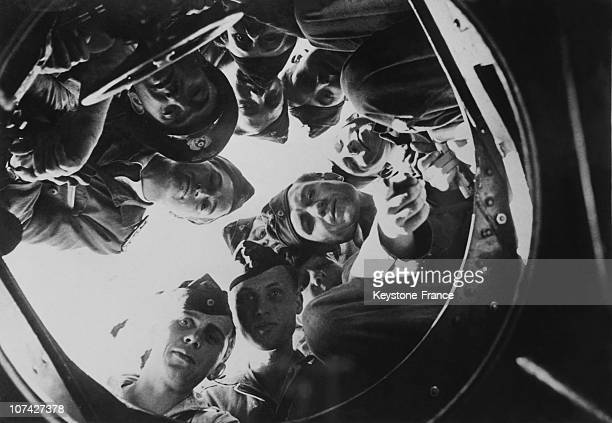 German Submariners Looking Through The Trapdoor Of Their U Boat On October 22Th 1943