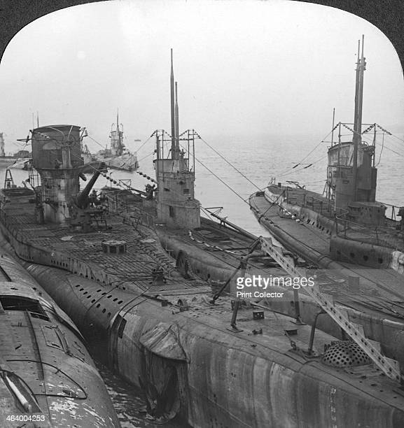German submarines secured in a Channel port c1918c1919 After the German surrender the Allies stipulated that all seaworthy Uboats be handed over to...
