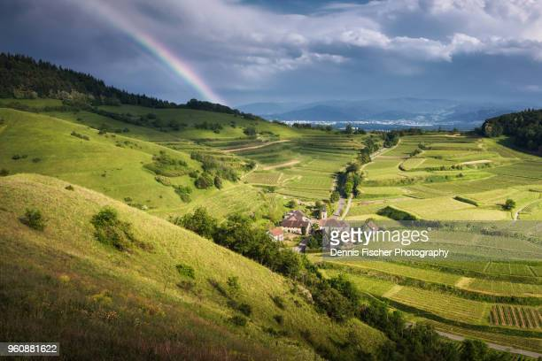 german summer landscape with rainbow - baden württemberg stock photos and pictures