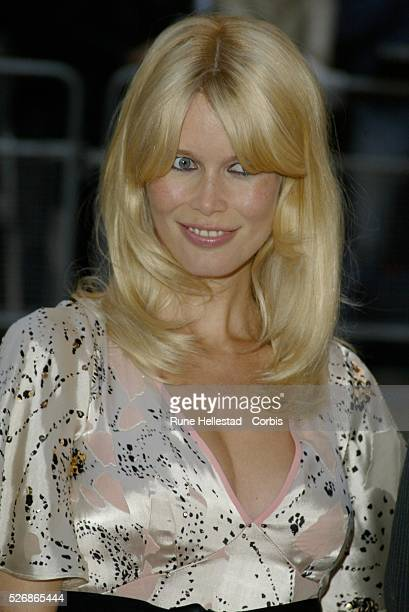 German supermodel and actress Claudia Schiffer arrives at the world premiere of Matthew Vaughn's movie 'Layer Cake' at the Electric Cinema in Notting...