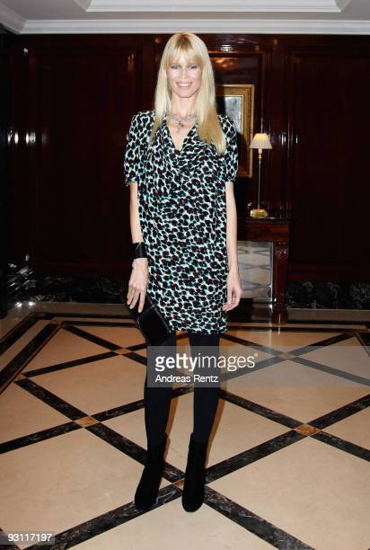 German supermodel Claudia Schiffer arrives for IHT Luxury Conference at Ritz Hotel on November 17 2009 in Berlin Germany