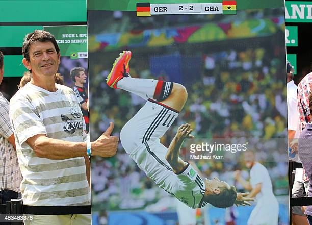 German supporter poses during the DFB Ehrenrunde on August 9 2015 in Lichtenstein Germany
