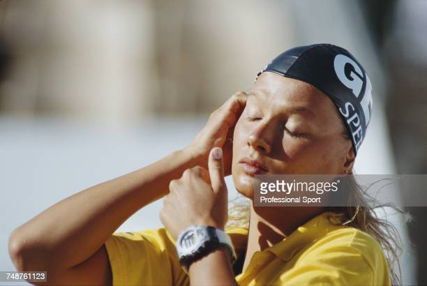 German swimmer Franziska van Almsick pictured during competition in the Women's freestyle relay swimming events at the 1998 World Aquatics...