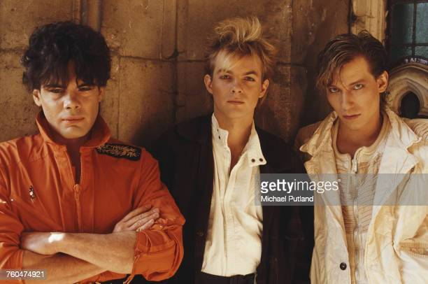 German synthpop group Alphaville London October 1984 Left to right singer Marian Gold and keyboard players Bernhard Lloyd and Frank Mertens