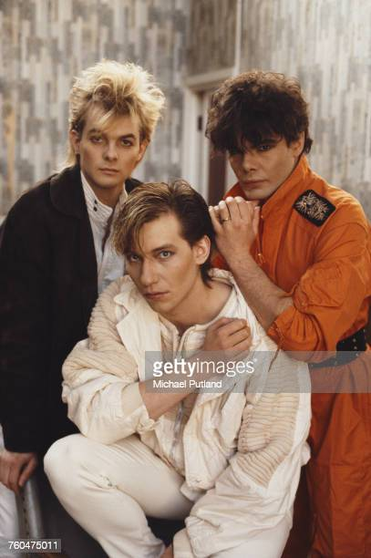 German synthpop group Alphaville London October 1984 Left to right keyboard players Frank Mertens and Bernhard Lloyd and singer Marian Gold