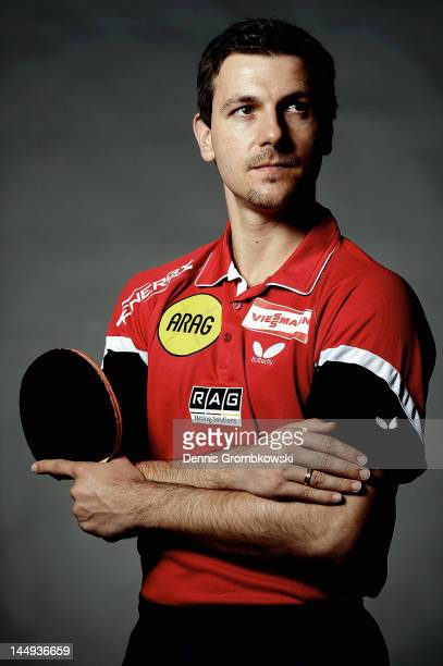 German table tennis player Timo Boll poses during a portrait session on May 15 2012 in Duesseldorf Germany
