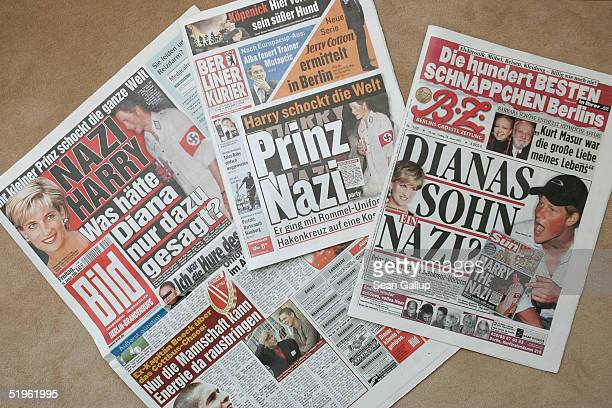 German tabloids including the Berliner Kurier Bild and BZ feature the story of British Prince Harry attending a party dressed in a Nazi uniform...