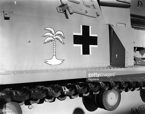 German tank bearing the symbol of the Afrika Korps as used in the North African campaign during the Second World War