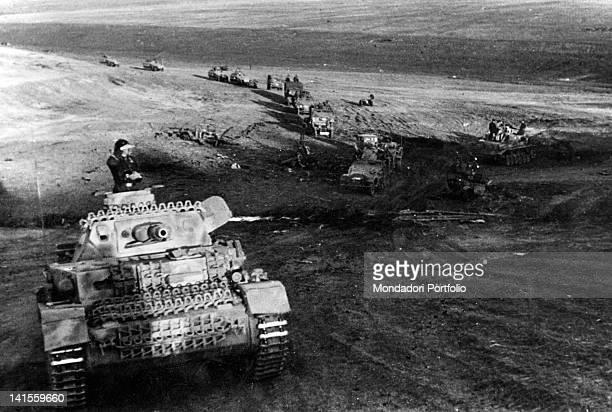 German tanks and vehicles column advancing during Kharkiv's battle Kharkiv May 1942