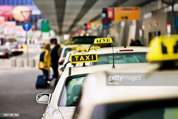 German taxi line up at airport
