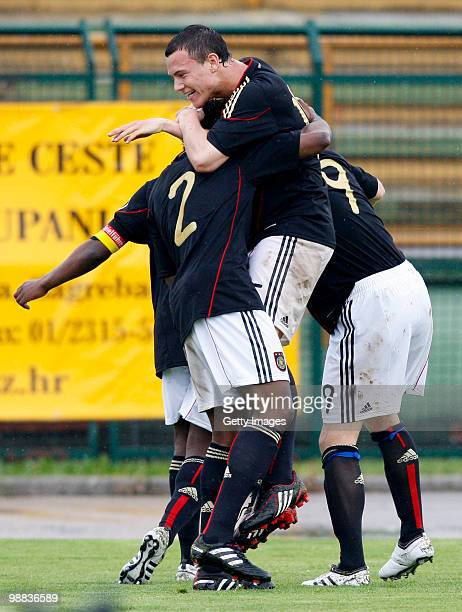 German team celebrates scoring a goal goal during the U18 international friendly match between Croatia and Germany at the Radnik Stadium on Mai 4...