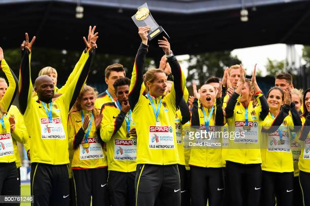 German Team celebrates with the trophy after winning the European Athletics Team Championships at the Lille Metropole Stadium on June 25 2017 in...