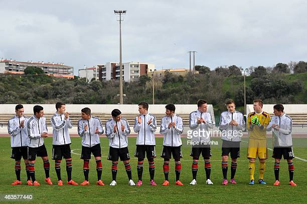 German team lineup during the U17 Algarve Cup match between Netherlands and Germany at Municipal Stadium on February 15 2015 in Lagos Portugal