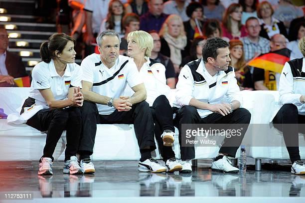 German team members Anja Kling Hannes Jaenicke Ulla Kock am Brink and Lothar Matthaeus waiting and watching a game during the 'Deutschland Gegen...