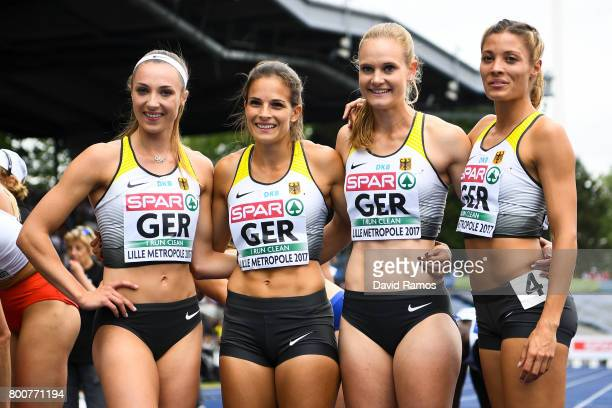 German team members Laura Muller Nadine Gonska Hannah Mergenthaler and Ruth Sophia Spelmeyer pose after the Women's 100m Hurdles Final during day...
