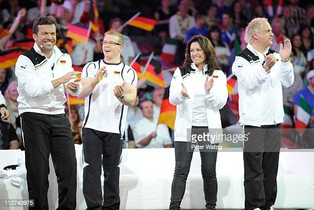 German team members Lothar Matthaeus Fabian Hambuechen Christine Neubauer and Uwe Ochsenknecht celebrate during the 'Deutschland Gegen Italien' TV...